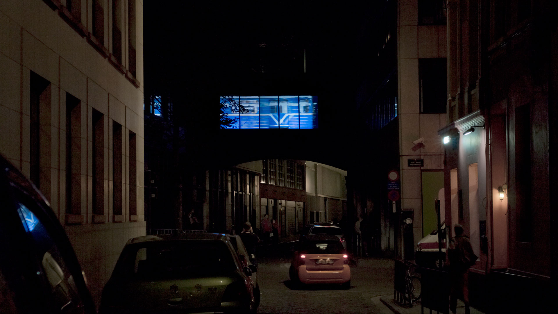 "HR-Stamenov, The Phenomenon of W24°58'59,43""N42° 07'55,29"", 2014, video installation with sound, public space, Brussels"